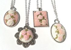 Mismatched Shabby floral hand embroidered pendant por ConeBomBom, $23.00
