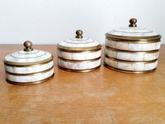 Vintage Set of 3 Brass and Mother of Pearl Inlay Containers with Lids - Pearl and Brass Knick Knack Storage - Brass Bookshelf Decor by LeBeauHaus