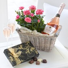 Enjoy our splendid selection of gifts including seasonal gifts, truly unique personalised gifts and divine food & drink. Anniversary Flowers, Anniversary Gifts, Rose Basket, Share Pictures, Wine Gift Baskets, Rose Gift, Luxury Flowers, Online Gifts, Amazing Flowers
