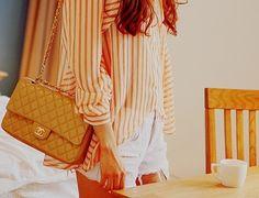 Chanel fashion white stripes chanel denim