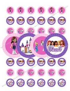 Lego Girls Bottle Caps- Stickers - 1 Inch - Digital Download - Lego Girls Version Party
