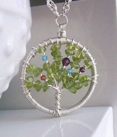 Family tree with birthstones in it, would be cute as an ornament .