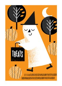 Halloween / Vintage Ghost / Holiday Cards from L2 Design Collective