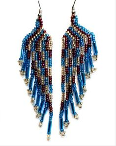 Blue, Purple & Gold Angel Wings Guatemalan Beaded Silver Dangle Earrings  Click picture to enlarge