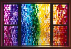 A gorgeous, modern take on a stained glass window by Jessica Eaton. This makes me wish that stained glass was still common in houses - I'd love to have a window like this someday! Mosaic Art, Mosaic Glass, Glass Art, Plexi Glass, Glass Tiles, Fused Glass, Rainbow Glass, Rainbow Wall, World Of Color