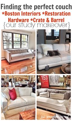 The search for a comfy couch {our tufted sofa - study makeover) at Boston Interiors, Restoration Hardware and Crate and Barrel.