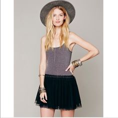 Free People Knit Tulle Slip Dress Adjustable straps size small. Excellent condition Free People Dresses Mini