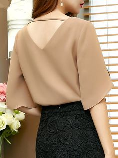 Gender: Women Style: Streetwear Collar: V-Neck Clothing Length: Regular Material: Polyester,Acetate,Spandex Sleeve Style: Regular Pattern Type: Solid Sleeve Length(cm): Half Fabric Type: Chiffon Chiffon Shirt, Ruffle Blouse, Creation Couture, Mode Outfits, Half Sleeves, Blouse Designs, Blouse Styles, Blouses For Women, Korean Fashion