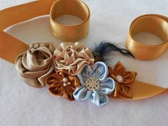 Bridal sash fabric flowers wedding ribbon belt, vintage style wedding rustic chic wedding dress belt via Etsy