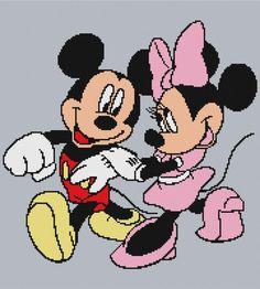 Modern Cross Stitch, Cross Stitch Charts, Cross Stitch Patterns, Minnie Mouse Blanket, Mickey Minnie Mouse, Graph Crochet, Afghan Crochet Patterns, Mickey Mouse Characters, Yarn Brands