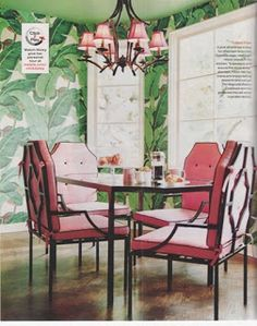Martinique Banana Leaf wallpaper in Nicky Hilton's dining room. So Palm Beach Chic!