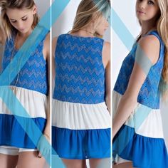 CHEVRON FABRIC BABYDOLL TANK TOP Darling babydoll top with chevron textured fabric in color blocked ruffle tank. Partially sheer. Lightweight.  80% polyester/20% cotton. In blue. Black to be listed soon. Measurements upon request.  PLEASE DO NOT BUY THIS LISTING, I will personalize one for you. tla2 Tops Tank Tops