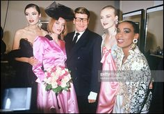 Yves Saint Laurent with models - Yves Saint Laurent ready to wear fashion show fall winter 1992 in Paris.