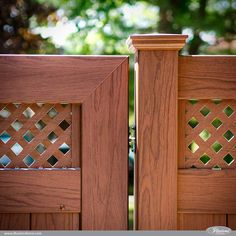 Rosewood PVC vinyl wood grain fence gate from @illusionsfence. Fence style V3215DS-6W104. Small Diagonal Lattice Topper. Matching Uni-Weld Gate VWG3215DS-46W104. #fenceideas