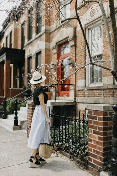 Striped Midi Skirt,