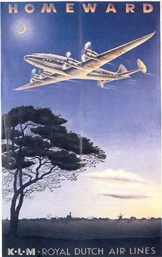 This poster was created by Paul Erkelens in 1944. It shows a plane crossing a typical Dutch landscape.