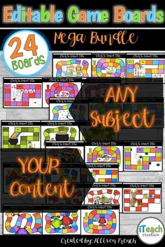 Create your OWN game boards with content that fits your classroom's needs. Just click and type to create your own engaging classroom activities! Turn any center into a GAME with these game boards for any season!