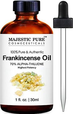 Majestic Pure Premium Quality Frankincense Essential Oil contains 70% Alpha-Thujene. Frankincense essential oil is used in aromatherapy that can offer a variety of health benefits; a must-have oil for...