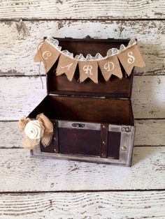 Rustic Wedding Card Box, Wooden Card Trunk, Card Holder, Burlap and Lace Decor, Burlap Wedding Decor on Etsy, $61.79 CAD