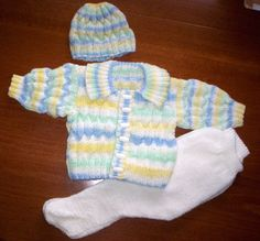 Hand Knit Jacket/Sweater Leggings and Hat by knittingpretty0115, £27.00