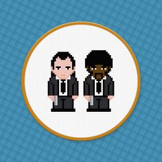 Pulp Fiction cross stitch pattern. Free ($0).  ***Make sure you fix the fact that Jules's hands are white in this pattern. -___-