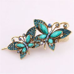 Meritina Double Butterfly Shape Rhinestone metal Hair Pin Clip Hair Combs (blue) *** Read more reviews of the product by visiting the link on the image.