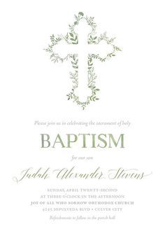 Growing in Faith Botanical Baptism Invitation - Available in Green or Lavender Baby Baptism, Baptism Party, Baptism Ideas, Baptism Favors, Baptism Invitation For Boys, Christening Invitations, Baptism Decorations, Funeral Planning, Fancy Fonts