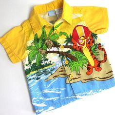Disney Tigger Hawaiian Shirt Baby 12 Mo Infants Cotton Surfer Winnie The Pooh #Disney