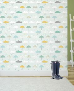 Umbrellas and Rain Clouds Wallpaper by WhimsicalWallsArt on Etsy Cloud Wallpaper, Rain Clouds, Umbrellas, Kids Room, Trending Outfits, Unique Jewelry, Handmade Gifts, Etsy, Vintage