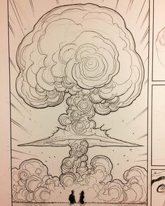 On my drawing board right now. Things get real in thi… Skybourne, mushroom cloud. On my drawing board right now. Things get real in this issue. At this point I can draw mushroom clouds in my… Cloud Drawing, Cloud Art, Explosion Drawing, Mushroom Drawing, Art Studies, Drawing Reference, Art Tutorials, My Drawings, Line Art