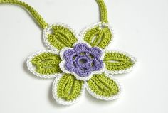 -Flower Jewelry, crocheted fashion necklace, green, lime, purple and ...