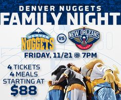 The Denver Nuggets NBA offer fans ticket and meal deals at their games.