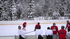 Video of a hobbyist ice hockey game at some remote outdoor rink in Kuopio, Finland.