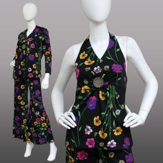 VINTAGE-70s-3-PIECE-Floral-BELL-BOTTOM-Halter-Top-Jacket-OUTFIT-Suit-HIPSTER-S-M