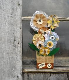 Rustic Fabric Flower Stand  Mixed Media by AlteredEcoDesigns, $46.00