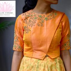 Custom designed lehenga for a pretty client! Stunning lehenga and crop top. Stunning crop top with floral design hand embroidery gold thread and zardosi work. 25 May 2018 Crop Top Designs, Blouse Back Neck Designs, Fancy Blouse Designs, Kurta Designs, Saree Blouse Designs, Stylish Blouse Design, Hand Work Blouse Design, Designer Blouse Patterns, Designer Blouses For Lehenga