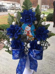 Grave Flowers, Cemetery Flowers, Funeral Flowers, Silk Flowers, Blue Flowers, Christmas Arrangements, Christmas Centerpieces, Floral Arrangements, Christmas Decorations