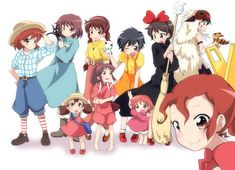 Arrietty, Fio Piccolo, Kiki, Nausicaa, Sheeta, Ponyo, Satsuki, Mei, Chihiro Ogino, San, Jiji, Kodama, Teto, Chibi-Totoro