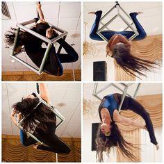 Bad Kitty Brand Ambassador Nadia Shariff performing in the aerial cube she engineered herself