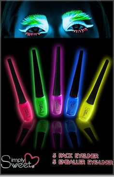 Set Of 5 Neon Black Light Glowing Eye Liner<!-- Click to Enlarge-->