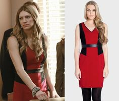 Mistresses Episode 6: Josslyn's (Jes Macallan) red and black color block dress by Cynthia Steffe #getthelook #mistresses