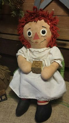 Vintage Old Cloth Fabric Primitive Raggedy Ann by collecteddust