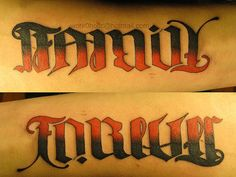 Ambigram Tattoo. (: | Family Forever Ambigram Tattoo