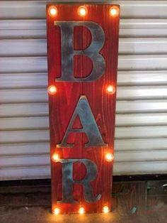 DIY Home Bar Decor Ideas – Personalized Home Bar Signs and Decor : Vintage Bar Sign Marquee Billboard Home Bar Signs, Diy Home Bar, Home Bar Decor, Bars For Home, Diy Bar Sign, Garage Bar, Man Cave Garage, Chalkboard Wedding, Bar Armoire