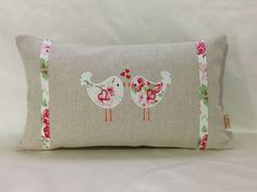 Decorative Lumbar Pillow ,White pillow cover, with Cath Kidston Lovebirds, linen, Boudoir Lumber Bolster throw pillow , floral pillow cover.