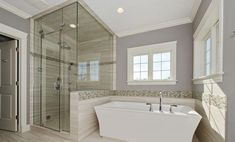 Bathroom decor for the master bathroom renovation. Learn master bathroom organization, bathroom decor ideas, bathroom tile some ideas, master bathroom paint colors, and much more. Bathtub Remodel, Master Bath Remodel, Restroom Remodel, Shower Remodel, Contemporary Bathroom Designs, Modern Bathroom, Modern Shower, Peach Bathroom, Silver Bathroom