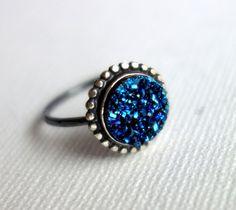 Handmade Blue Druzy Ring with Beaded by RachelPfefferDesigns, $114.00