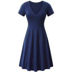 FENSACE Pockets Womens V-Neck Short Sleeve Casual Flare A Line Midi... ($19) ❤ liked on Polyvore featuring dresses, v neck dress, blue midi dress, v neck a line dress, pocket dresses and short sleeve midi dress