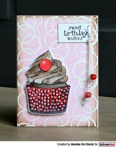 Card by Anneke De Clerck using an embossing resist technique with Darkroom Door Abstract 02 Stamp and Cupcake Eclectic Stamp Birthday Sentiments, Birthday Wishes, Leaf Stencil, Large Stencils, Distress Oxides, Flower Stamp, Printed Pages, Some Cards, Ink Pads