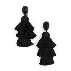 Women's Oscar De La Renta Tiered Tassel Drop Earrings ($450) ❤ liked on Polyvore featuring jewelry, earrings, black, beaded earrings, oscar de la renta earrings, drop earrings, party jewelry and beading earrings